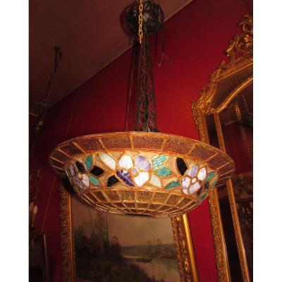 Ancien Lustre Epoque 1900 Art Nouveau Vitrail  Vitraux  Style Tyffany Coupe Plafonnier