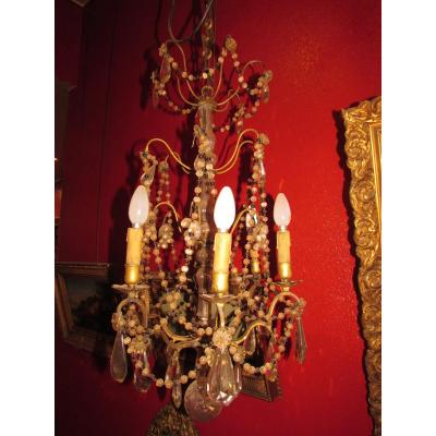 Old Chandelier With Pendants Epoque Nineteenth Louis XVI Style Marie Antoinette Beads Garlands