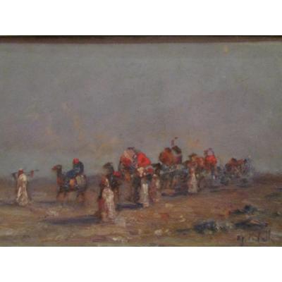 Orientalist Painting Oil On Panel Signed Caravan Du Desert Era By 1930 Touareg