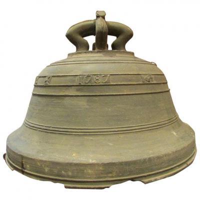 Ancienne Cloche De Chapelle Bronze Epoque Fin XVIIIeme Datée 1787 Croix De Malte Signée