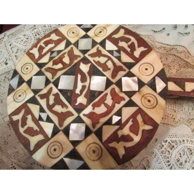 Ancien Miroir Orientaliste Face A Main Glace Tunisien Marqueterie Os Ebene Nacre XIXeme