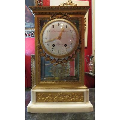 Cartel Clock XIX Gilt Bronze Marble Carrara Ferdinand Berthoud Style Lxvi Frieze From Cherubin
