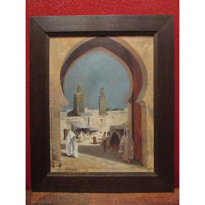 Ancien Tableau Huile Sur Toile Vers 1930 Orientaliste Porte Fes Maroc Suzanne Odoul Duquint