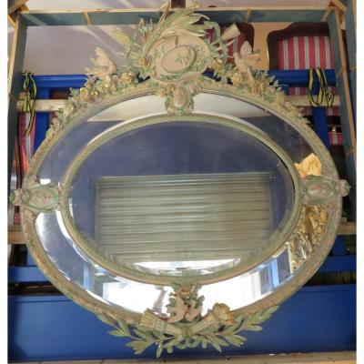 Monumental Miroir Napoleon III Ovale De Chateau Bois Et Stuc Laqué Fleurs Et Oiseaux XIXe glace