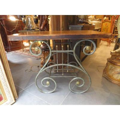 Ancienne Table De Boucher Boucherie En Fer Forgé Et Laiton Terrasse Epok 1900