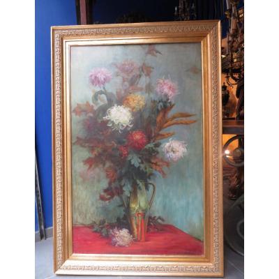 Grand Tableau Huile Sur Toile Epoque 1900 Nature Morte Bouquet De Fleurs Entablement Ecole Lyon