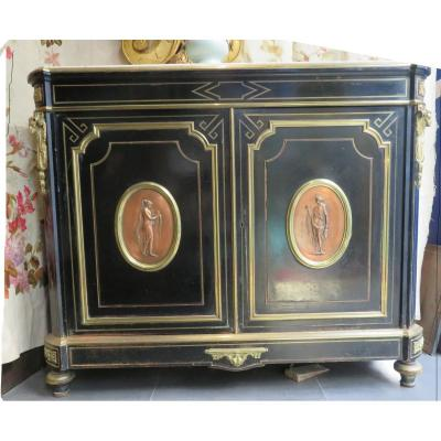 Ancien Buffet D Appui 2 Portes Napoleon III Noirci XIXe Medaillon Bronze Boulle