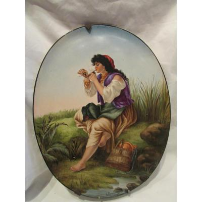 Former 19th 1883 Faience Plate Painted Decor Italian A La Pipe Signed E Larcher