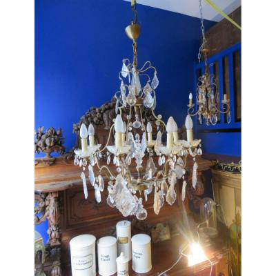 Old Large Chandelier With Cage Pampilles In Bronze And Glass Plates Epoque 1940