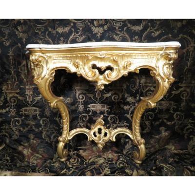 Ancienne Console En Bois Doré Epoque Mi XIXe De Style Louis XV Rocaille