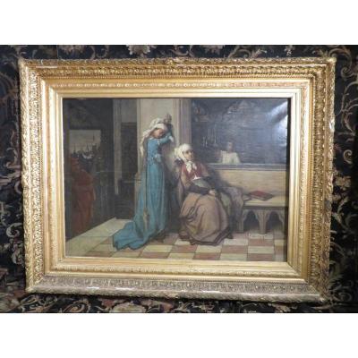 Ancien Grand Tableau Huile Sur Toile XIXe Par Francois Du Mont Jeunes Filles Et Mephisto