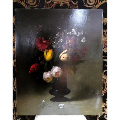 Ancien Tableau Huile Sur Toile Par G Ribot Bouquet De Fleurs Dans Un Vase Vers 1910