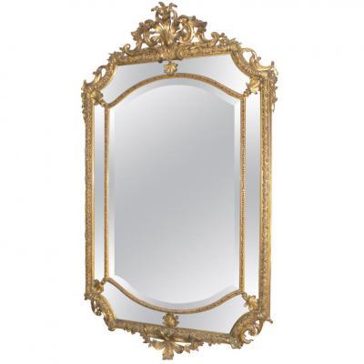 Ancien Miroir Glace Parecloses Bois Doré Epoque XIXeme Style Louis XIV Napoleon III
