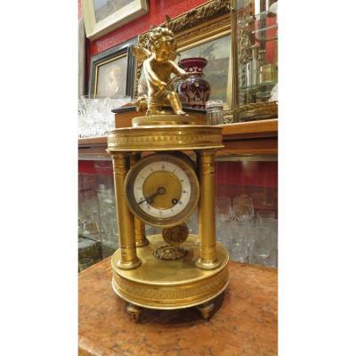Pendule Le Temple De Cupidon Amour Putti Epoque Fin XIXe En Bronze Doré  Style Empire Alte Uhr