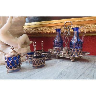 Huilier Vinaigrier Salière Moutardier Argent Massif Vieillard & Cristal Du Creusot Empire XIXe