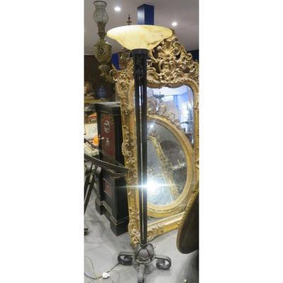 Ancien Grand  Lampadaire Art Deco En Fer Forgé Epoque 1930 Et  Sa Vasque En Albatre  Lampe