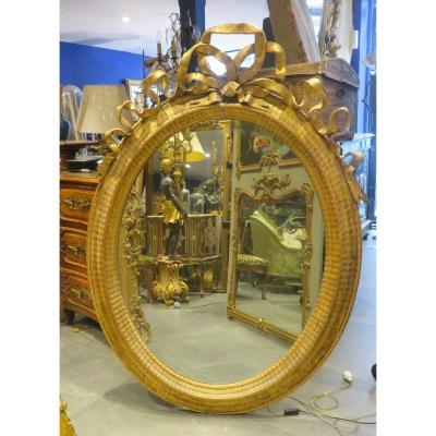 Superbe Grand Miroir Médaillon Ovale  Epoque 1830 De Style Lxvi A Decor De Nœud Enrubanné