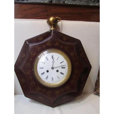 Cartel d'Applique En Tole Peinte Epoque 1900 Style Empire Carillon Pendule