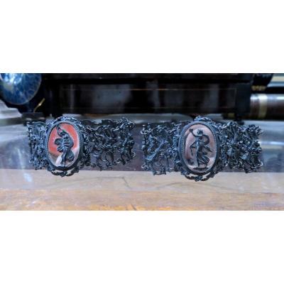 Rare Pair Of Blackened Iron Steel Bracelets From Berlin Geiss Ironwork 1820 Silesian Cameo Sylphide