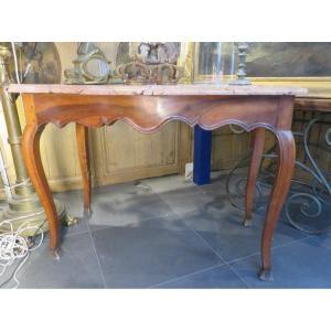Ancienne Console Table A Gibier Fin XVIIIe En Noyer Provençale Dessus De Marbre