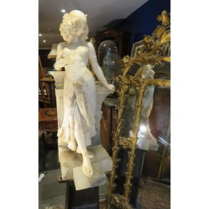 Spectacular Egyptian Art Deco Statue Sculpture With Zoomorphic Attributes In Alabaster 98cm !!