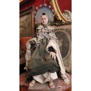 Statue De Procession En Bois Travail  XVIIIe   Vierge Marie En Larmes  Stabat Mater religieuse