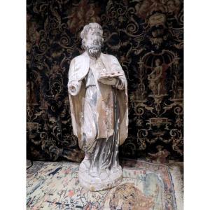 Grande Statue Religieuse En Bois Sculpté Epoque XVII-xviiie St Joseph 119cm!