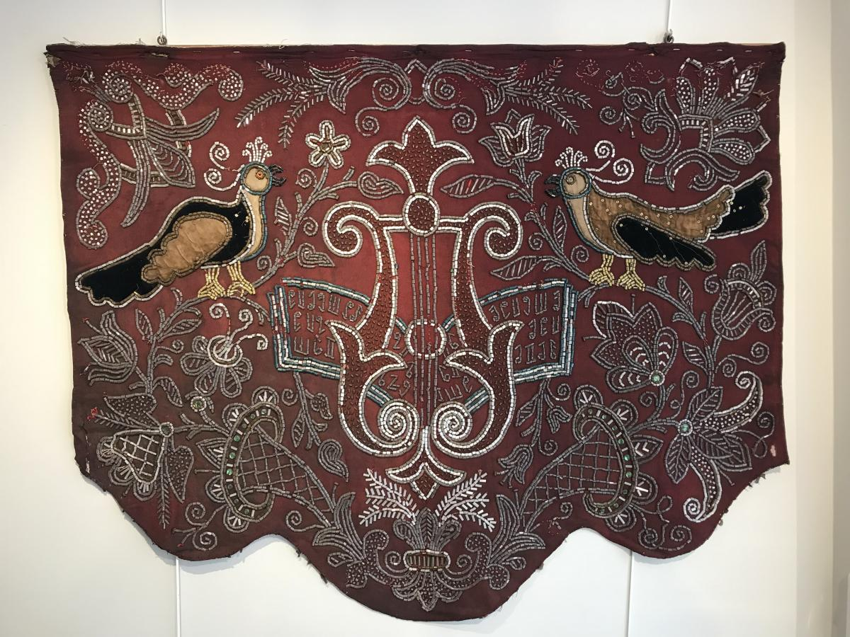 3 Large Embroidered Fabrics Of Pitted Glass End 19th Century