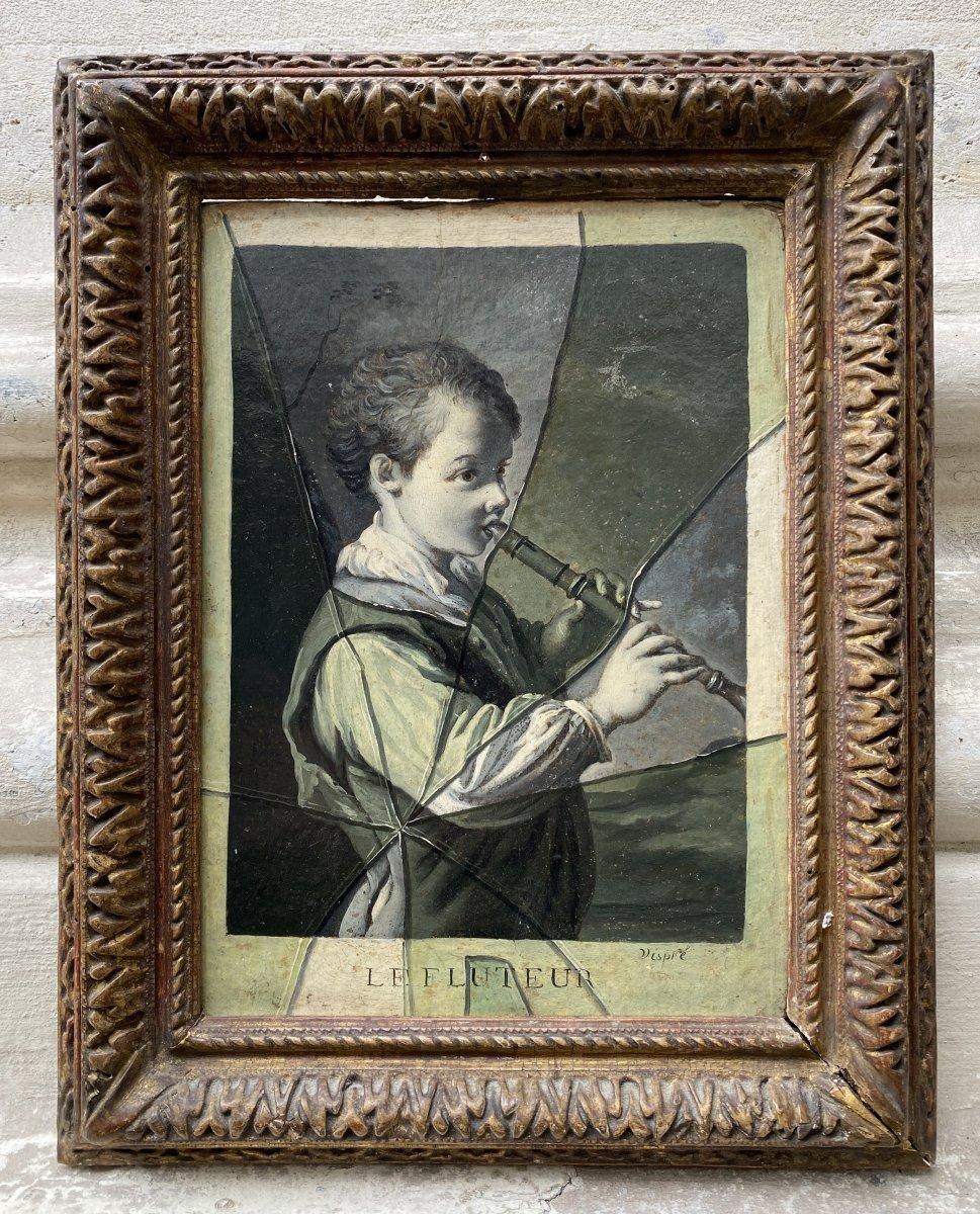 Le Fluteur, Trompe-l'œil Signé Vispré 18ème Siecle