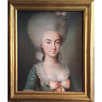 Portrait de Marie-Antoinette De La Ferté, Pastel Vers 1780