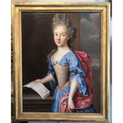 Portrait D'une Jeune Fille Tenant Une Partition, Pierre Gobert Vers 1690 (entourage de)