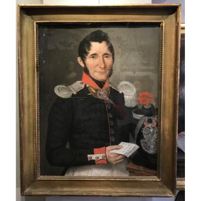 Portrait D'un Capitaine De La Garde Nationale, Pastel 1837