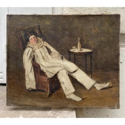 Pierrot Endormi, huile sur toile 19ème siècle