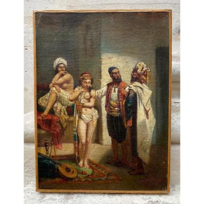 La Visite Au Harem, école Orientaliste 19ème Siècle