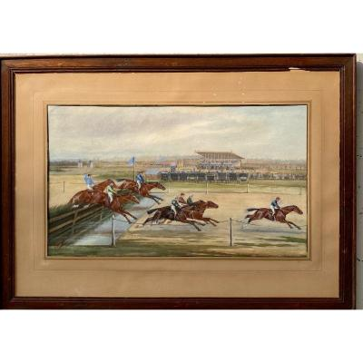 Les Courses à Enghien, aquarelle fin 19ème siècle