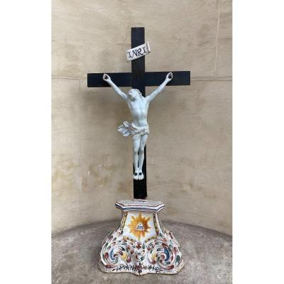 Crucifix En Faïence De Rouen 18 ème Siècle