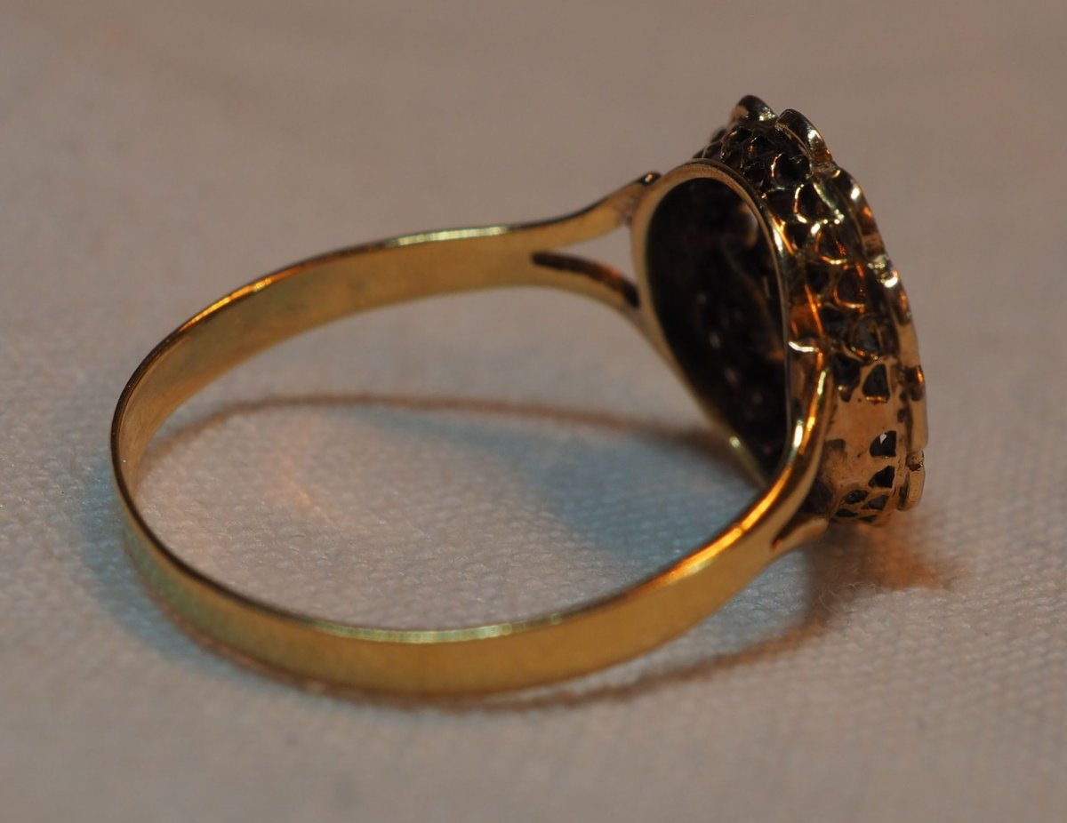 Ring Circa 1920 - Gold And Platinum Frame With Rough Diamonds Rose Mounted Boxed-photo-1