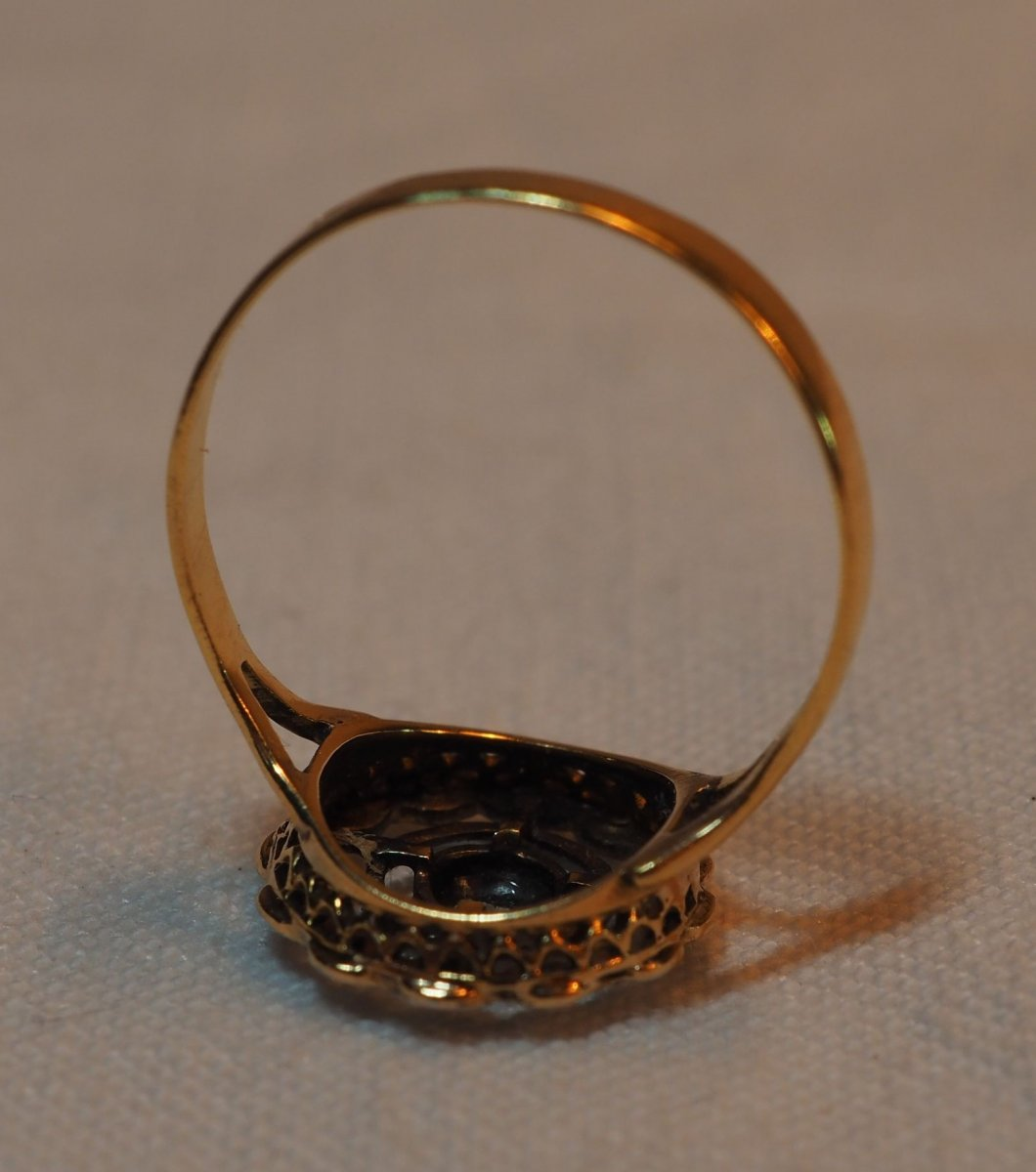 Ring Circa 1920 - Gold And Platinum Frame With Rough Diamonds Rose Mounted Boxed-photo-5