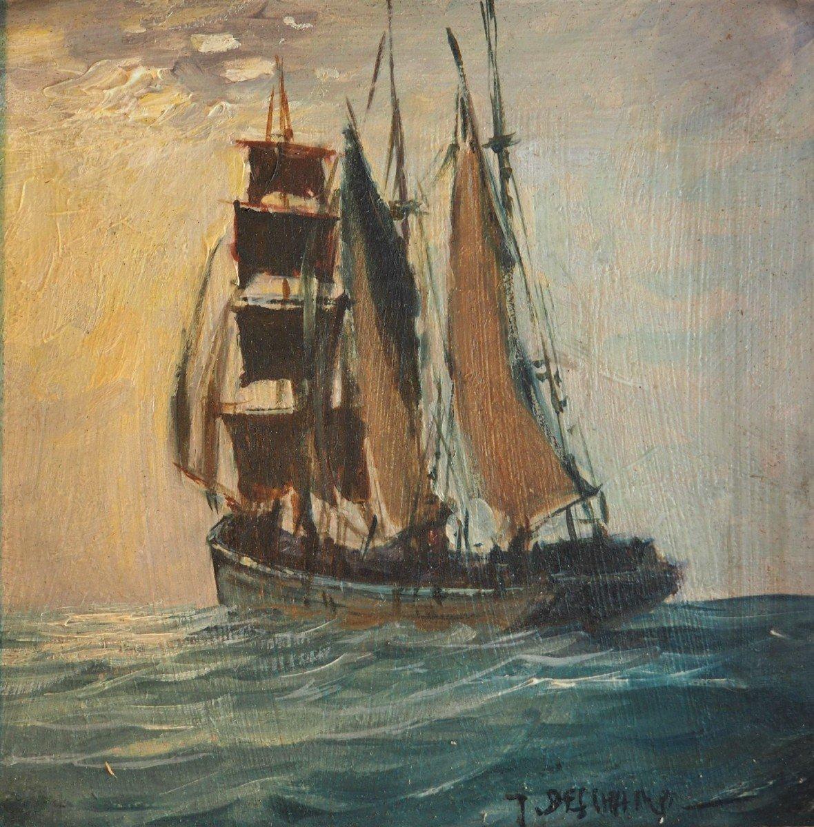 Hsp - Signée Gabriel Deschamps (né En 1919) - Bateau Terre-neuvier  Peintre De La Bretagne