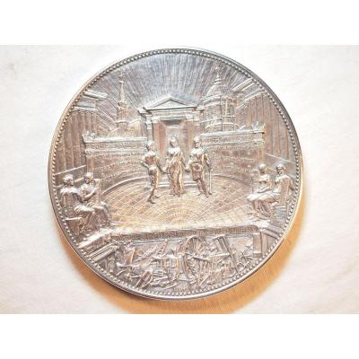 Heavy Trompe l'Oeil Medal In Sterling Silver - 223 Grams - Signed Saget - Industry