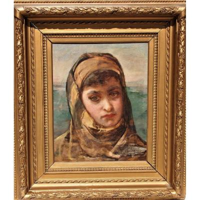 Hst - Oil On Canvas Portrait Young Woman Orientalist Work Adelaide Salles Wagner Around 1860