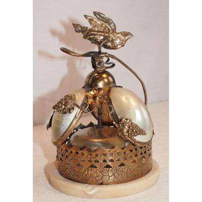 Table Or Counter Bell - Mother-of-pearl Shells - Grape Bird Decor, Flowers - XIXth
