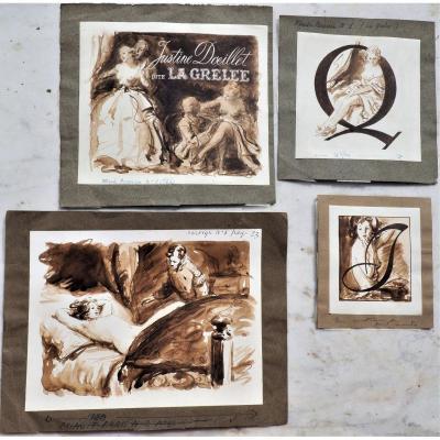 Curiosa Lavis Originaux à l'Encre d'Un Illustrateur De  Journaux  Illustrés érotiques Années 50