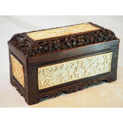 Indochina Box In Rosewood And Ivory - XIX I Century