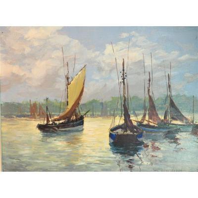 Hsp - Signée Gabriel Deschamps (né En 1919) - Voiliers à l'Amarrage  Peintre De La Bretagne