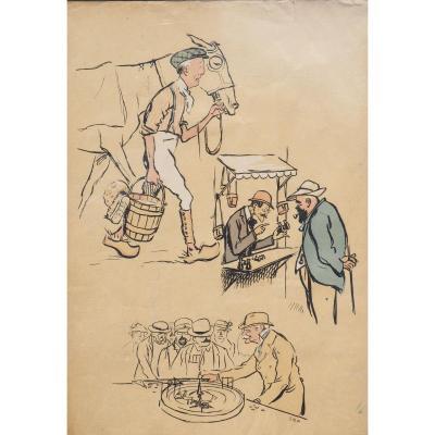 DEAUVILLE caricatures SEM  Planche Double Face De l'Album De Sem Sur Deauville COCO CHANEL ...