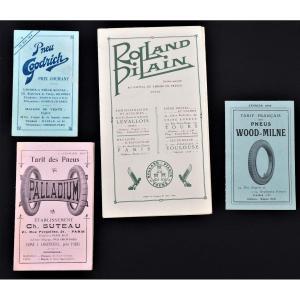 Livrets Catalogues Publicitaires Automobiles Rolland Pilain Goodrich Wood Milne Palladium