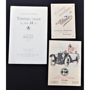 Plaquettes Publicitaires Automobiles Berliet - Unic - Zedel époque Première Guerre Mondiale
