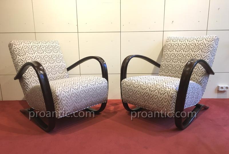 Jindrich HALABALA: Paire de fauteuils art-déco modernistes 1930