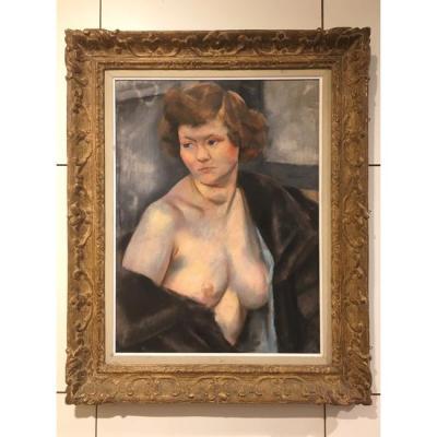 Charles KVAPIL (1884-1957): Rousse au vison noir, 1930 signé
